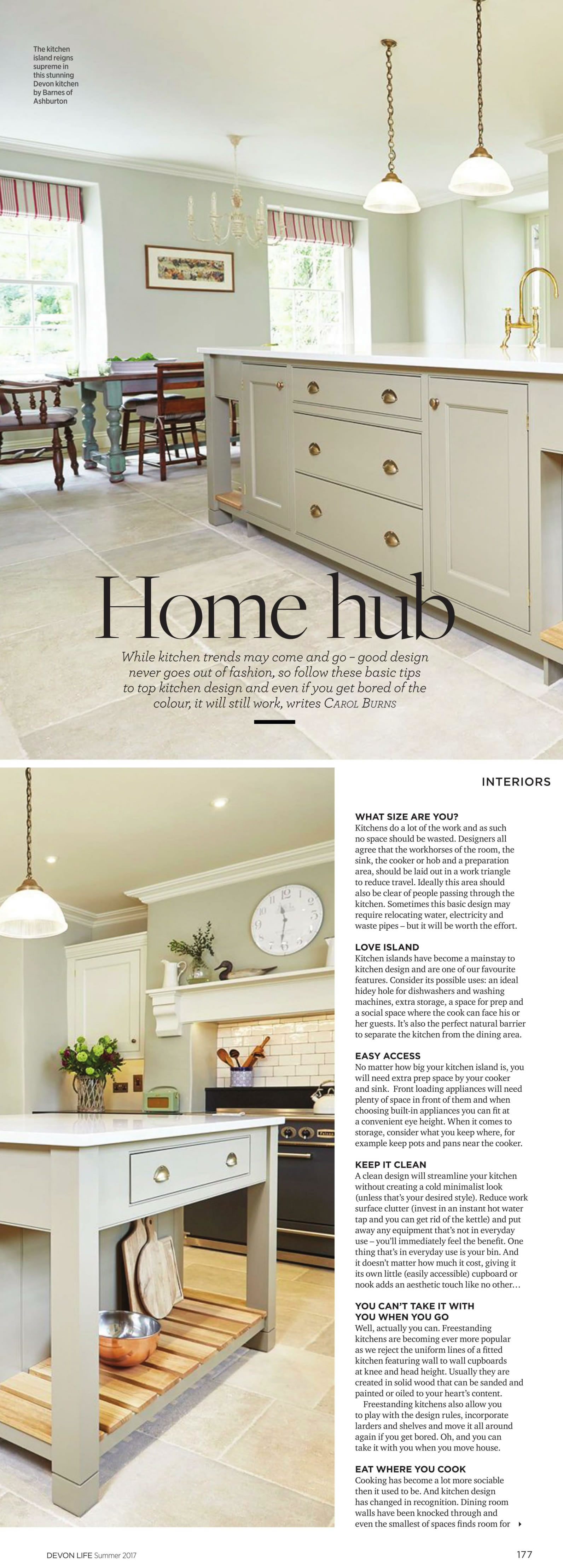 DEVON LIFE Summer Kitchen design article