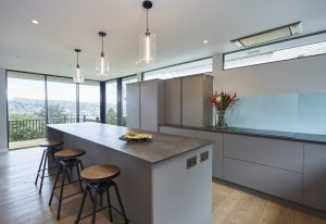The kitchen Island provides useful space