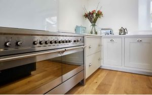 A large stainless steel range