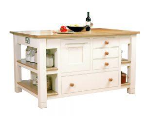 A freestanding wooden kitchen island