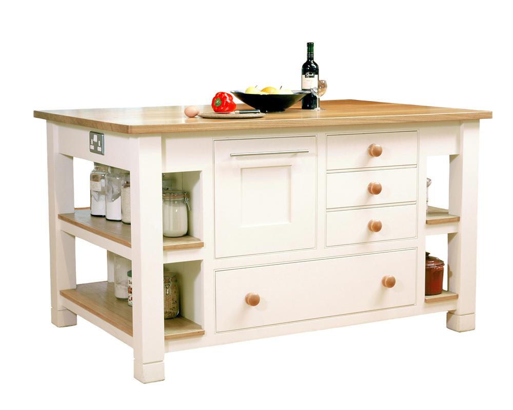 A freestanding wooden kitchen island in a Barnes kitchen