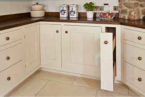 Handmade wooden pullout kitchen cupboard