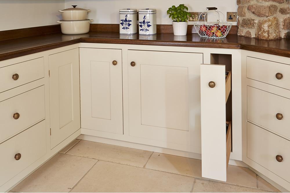 Handmade wooden pullout kitchen cupboard