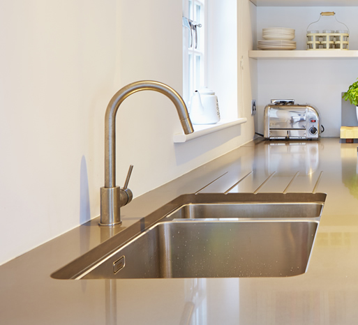 Composite quartz kitchen worktop