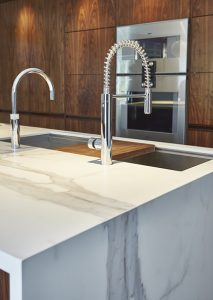 Polished white stone imakes for a beautiful worktop