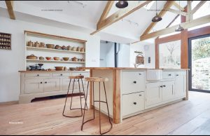 Beautiful handmade wooden cabinetry in a large kitchen