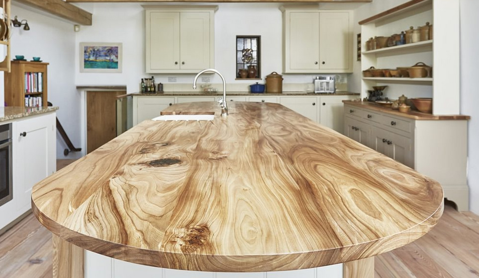 A walnut work top handmade by Barnes