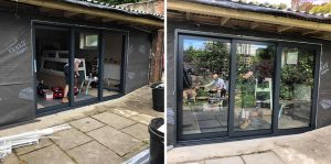 Glass doors going in to the new Barnes office here in Devon