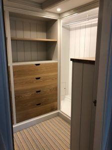 Dressing room cabinets shown as part of the bedroom redesign carried out by Barnes in Devon