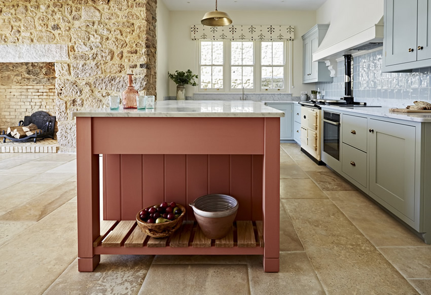 Hard wearing stone floor tiles in a classic kitchen