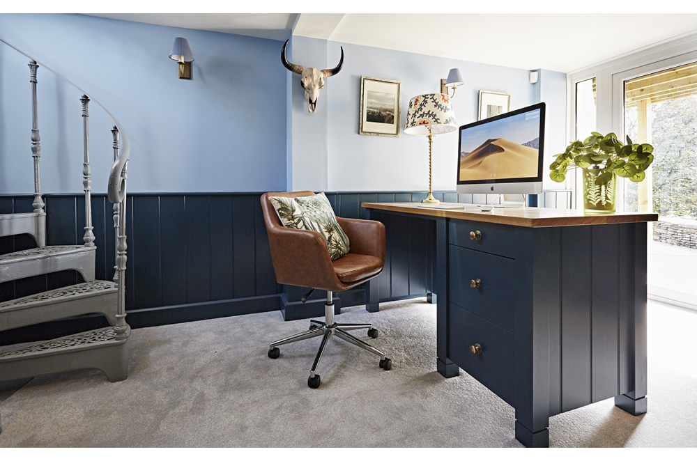 Home office furniture including an oak topped desk