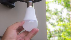 An LED bulb used in a barnes kitchen
