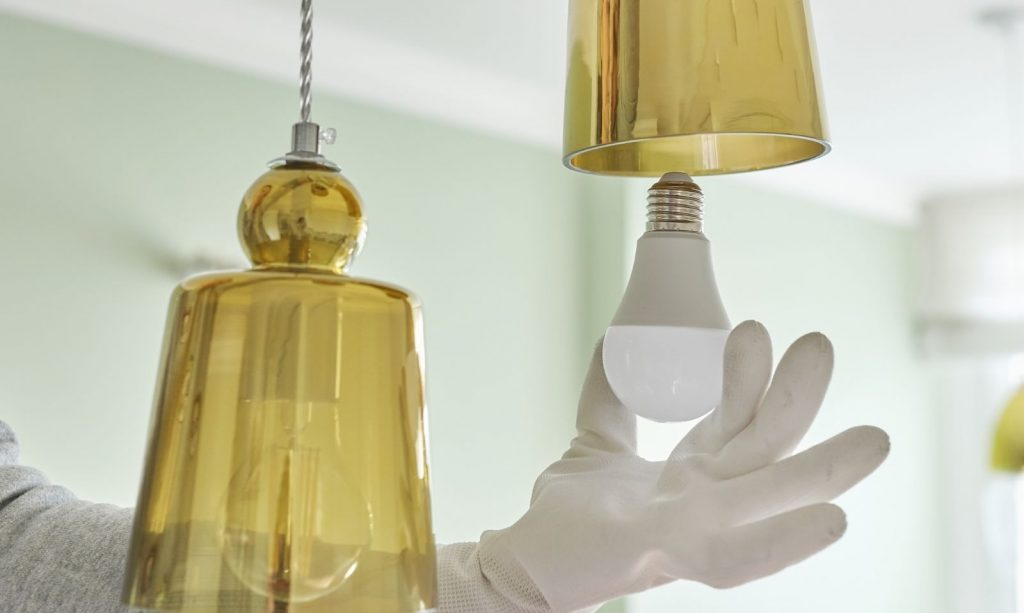 Led bulbs installed in kitchen lights