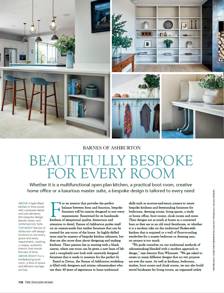 The English Home magazine showcases a Barnes kitchen Page One
