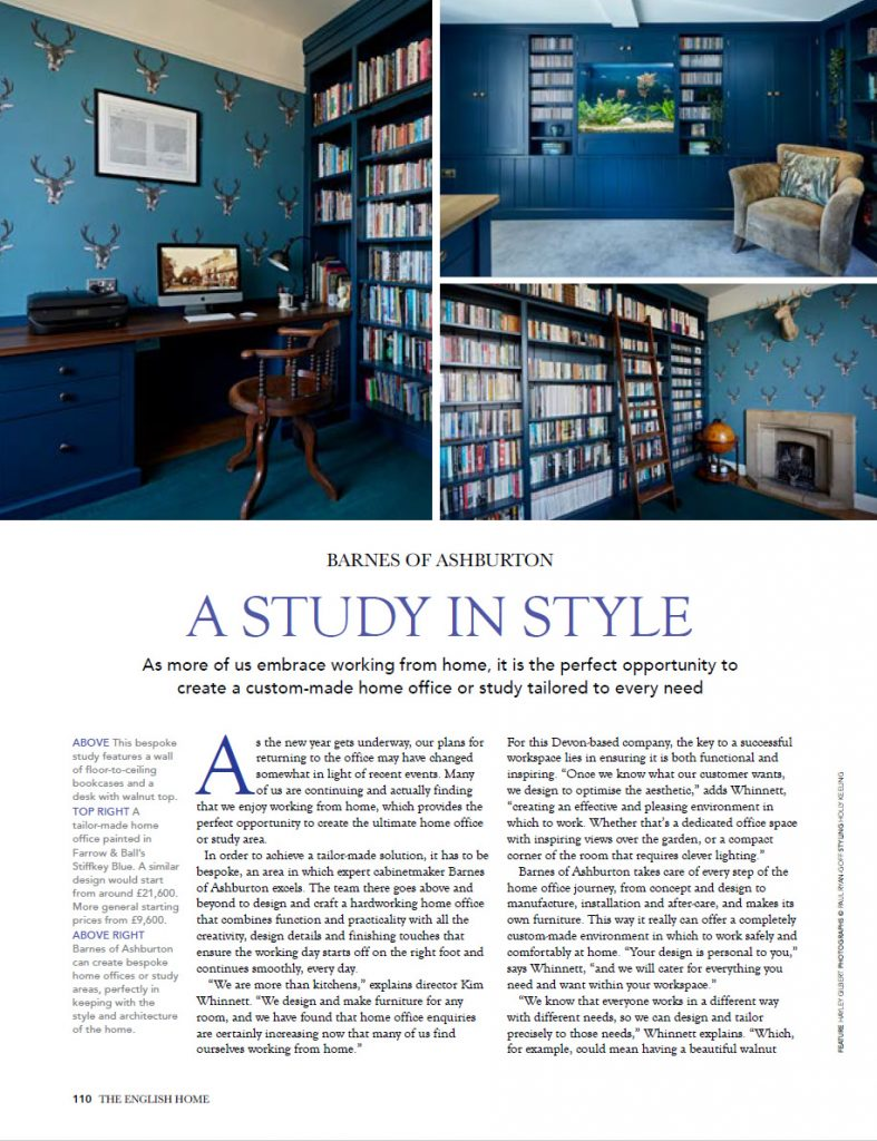 A beautiful hand crafted home office from barnes of Ashburton