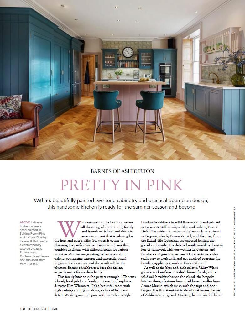 Pretty In Pink kitchen design by Barnes of Ashburton