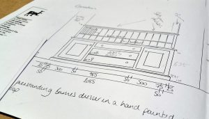 Hand drawings of the kitchen design stage