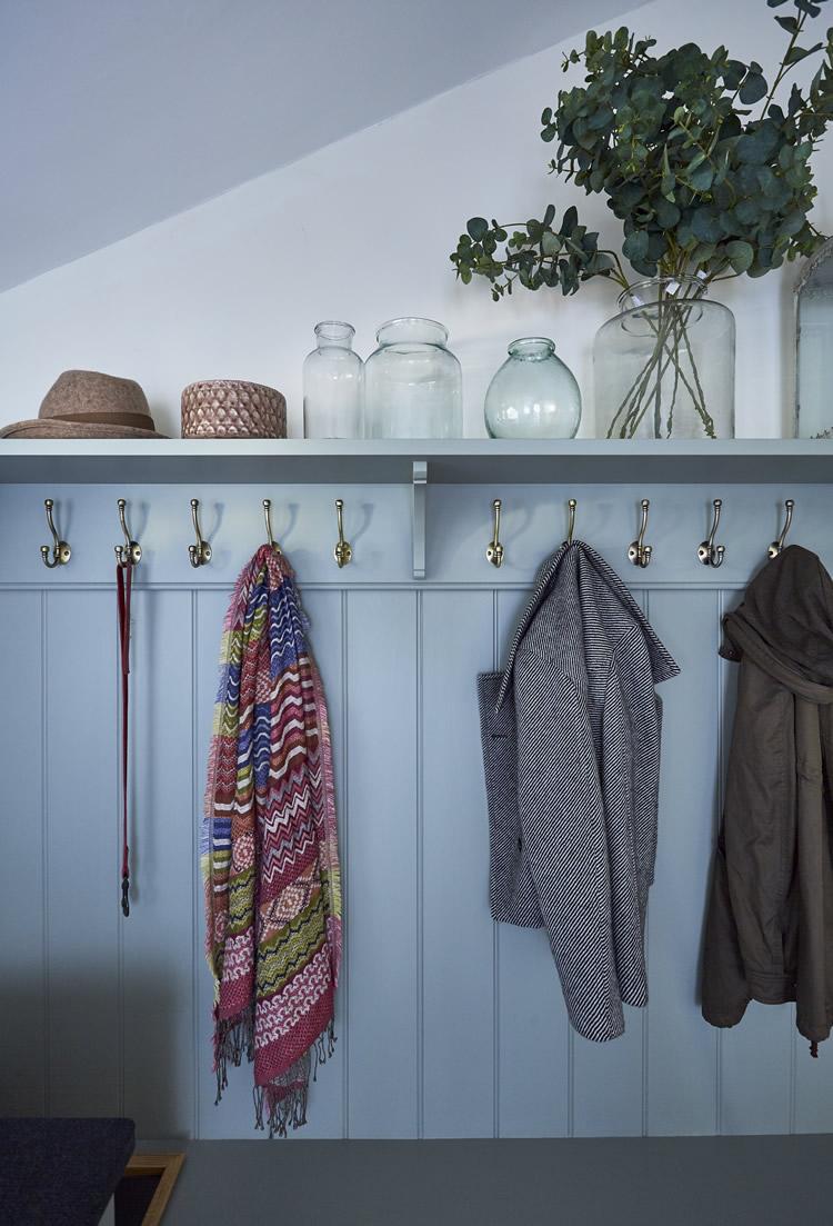 Coat hooks and boot room shelving