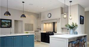 Designer kitchen lighting in a Devon kitchen
